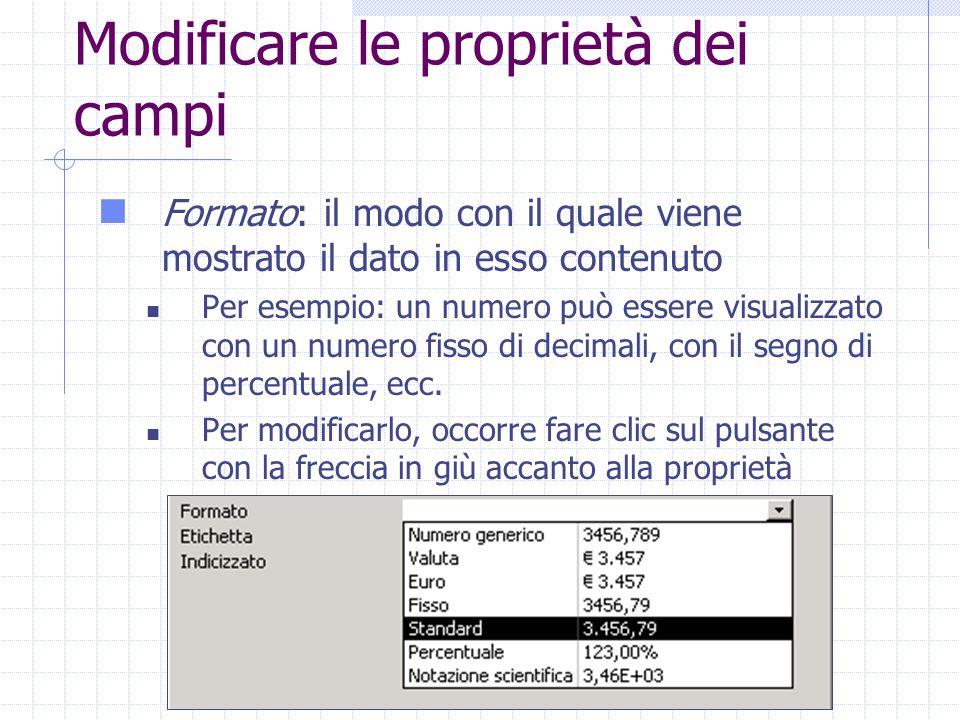 Modificare le proprietà dei campi Formato: il modo con il quale viene mostrato il dato in esso contenuto Per esempio: un numero può essere visualizzato con un numero fisso di decimali, con il segno di percentuale, ecc.