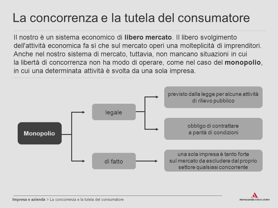 Impresa e azienda > La concorrenza e la tutela del consumatore La concorrenza e la tutela del consumatore Il nostro è un sistema economico di libero m