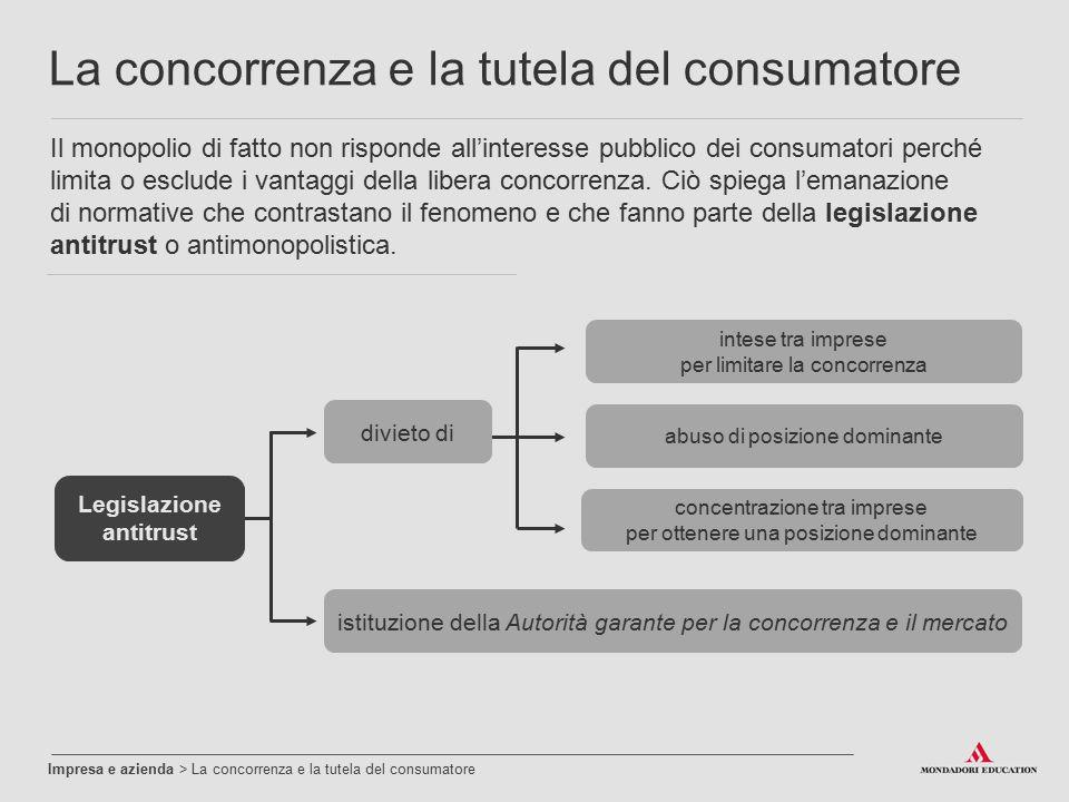 Impresa e azienda > La concorrenza e la tutela del consumatore La concorrenza e la tutela del consumatore Il monopolio di fatto non risponde all'inter