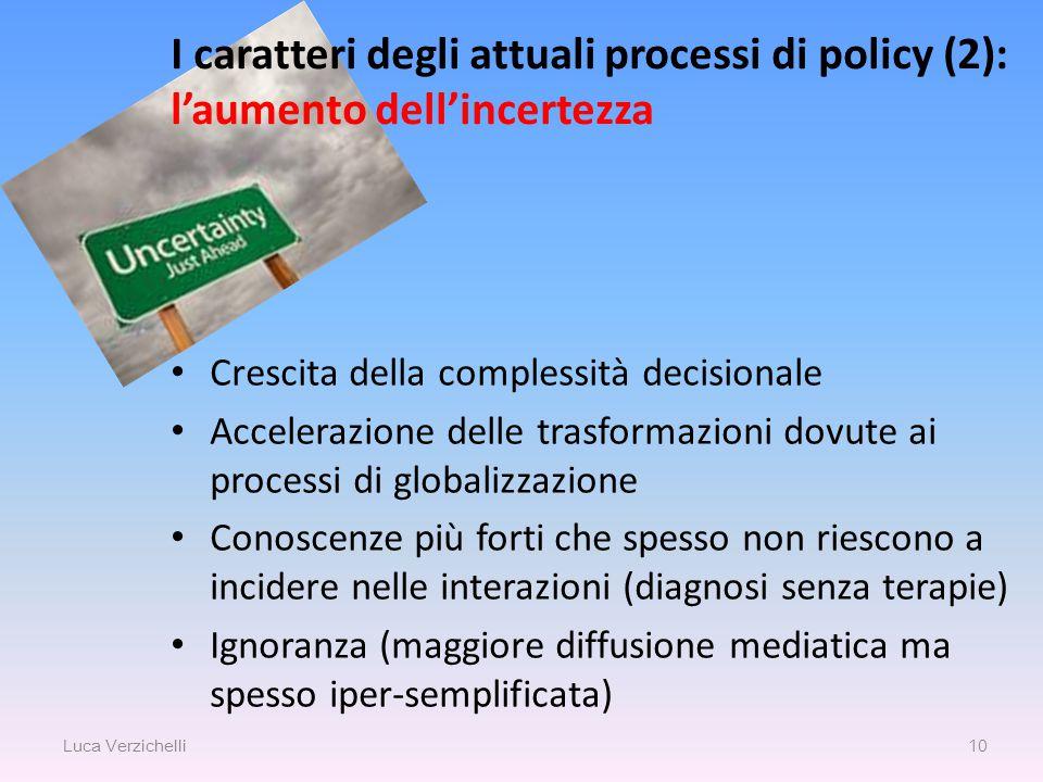 I caratteri degli attuali processi di policy (2): l'aumento dell'incertezza Luca Verzichelli 10 Crescita della complessità decisionale Accelerazione d