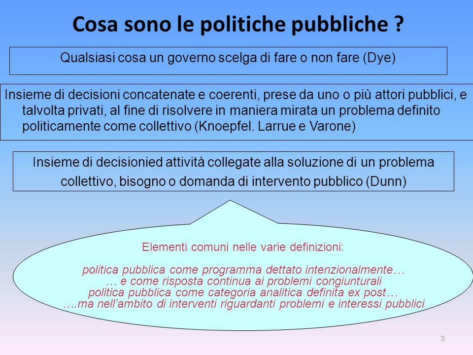 3 Cosa sono le politiche pubbliche ? Elementi comuni nelle varie definizioni: politica pubblica come programma dettato intenzionalmente… … e come risp