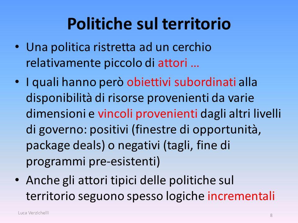 Politiche sul territorio Una politica ristretta ad un cerchio relativamente piccolo di attori … I quali hanno però obiettivi subordinati alla disponib