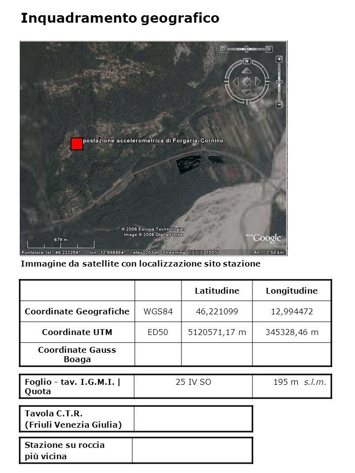 Dati acquisiti dalla stazione Stazione di FORGARIA CORNINO N° di registrazioni acquisite PGA max registrata [cm/s 2 ] Data evento in cui si è registrata il max valore di accelerazione 21345,29215/9/1976