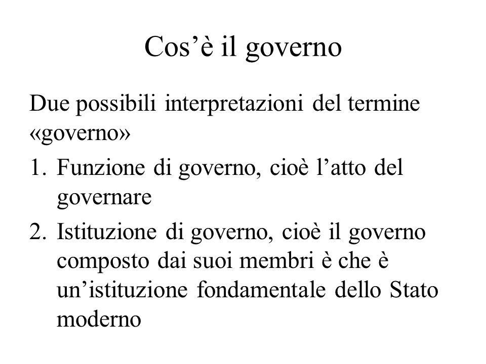 Cos'è il governo Due possibili interpretazioni del termine «governo» 1.Funzione di governo, cioè l'atto del governare 2.Istituzione di governo, cioè i
