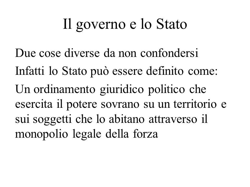 Il governo e lo Stato Due cose diverse da non confondersi Infatti lo Stato può essere definito come: Un ordinamento giuridico politico che esercita il