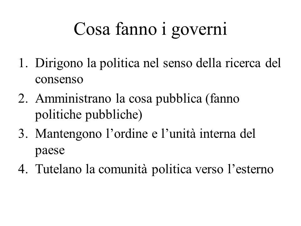 Cosa fanno i governi 1.Dirigono la politica nel senso della ricerca del consenso 2.Amministrano la cosa pubblica (fanno politiche pubbliche) 3.Manteng