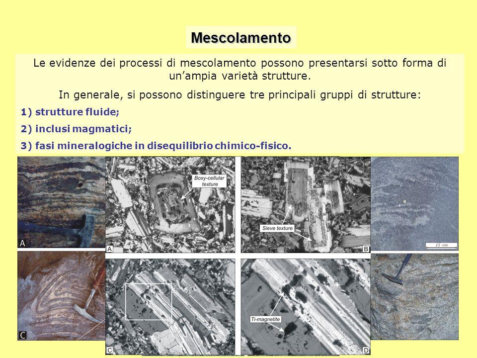 Mescolamento Le evidenze dei processi di mescolamento possono presentarsi sotto forma di un'ampia varietà strutture. In generale, si possono distingue