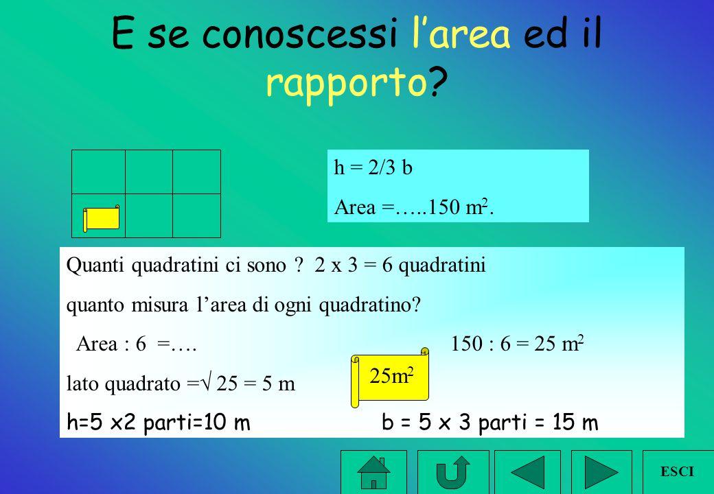Differenza e rapporto Obiettivo: Trovare base e altezza. DATI: h= 3/5 della base b - h = cm 20 Quante parti corrispondono alla differenza ? 5 - 3 = 2
