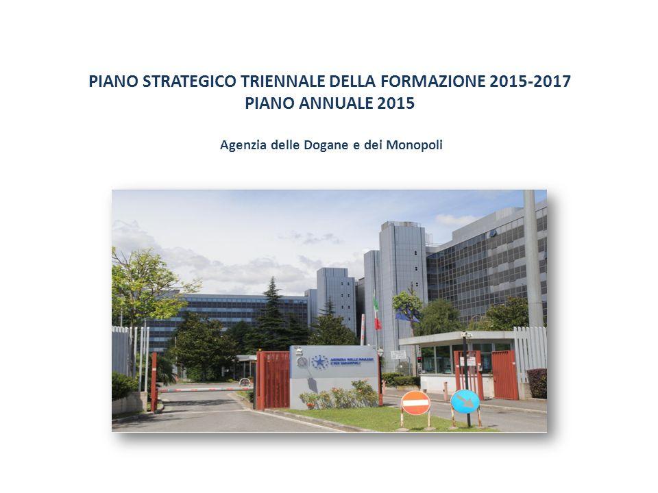 Il Piano annuale 2015 12 PIANO STRATEGICO TRIENNALE DELLA FORMAZIONE 2015-2017 PIANO ANNUALE 2015 Il Piano annuale 2015 prevede a livello consolidato di Agenzia un totale di ore formazione pari a 235.175, a fronte delle 240.792 programmate nel 2014 (sommando il dato dogane con quello monopoli).