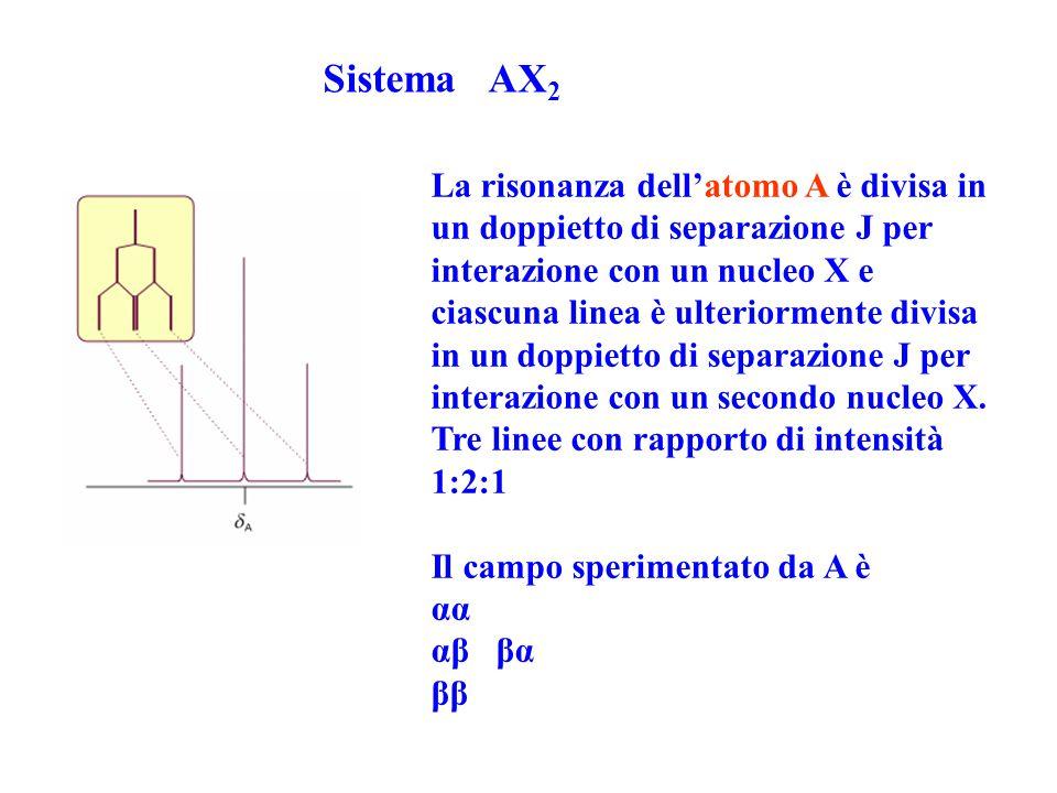 La risonanza dell'atomo A è divisa in un doppietto di separazione J per interazione con un nucleo X e ciascuna linea è ulteriormente divisa in un dopp