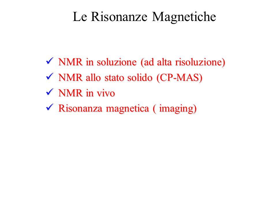 Le Risonanze Magnetiche NMR in soluzione (ad alta risoluzione) NMR in soluzione (ad alta risoluzione) NMR allo stato solido (CP-MAS) NMR allo stato so