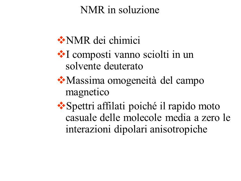 NMR in soluzione  NMR dei chimici  I composti vanno sciolti in un solvente deuterato  Massima omogeneità del campo magnetico  Spettri affilati poi