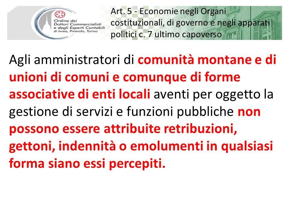 Art. 5 - Economie negli Organi costituzionali, di governo e negli apparati politici c.