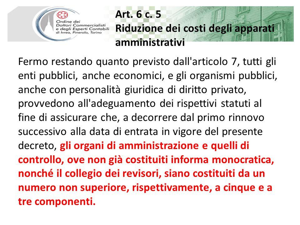 Art.6 Riduzione dei costi degli apparati amministrativi 20.