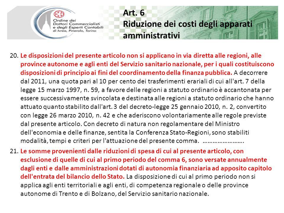 Art. 6 Riduzione dei costi degli apparati amministrativi 20.
