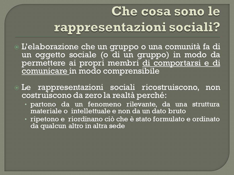  L'elaborazione che un gruppo o una comunità fa di un oggetto sociale (o di un gruppo) in modo da permettere ai propri membri di comportarsi e di com