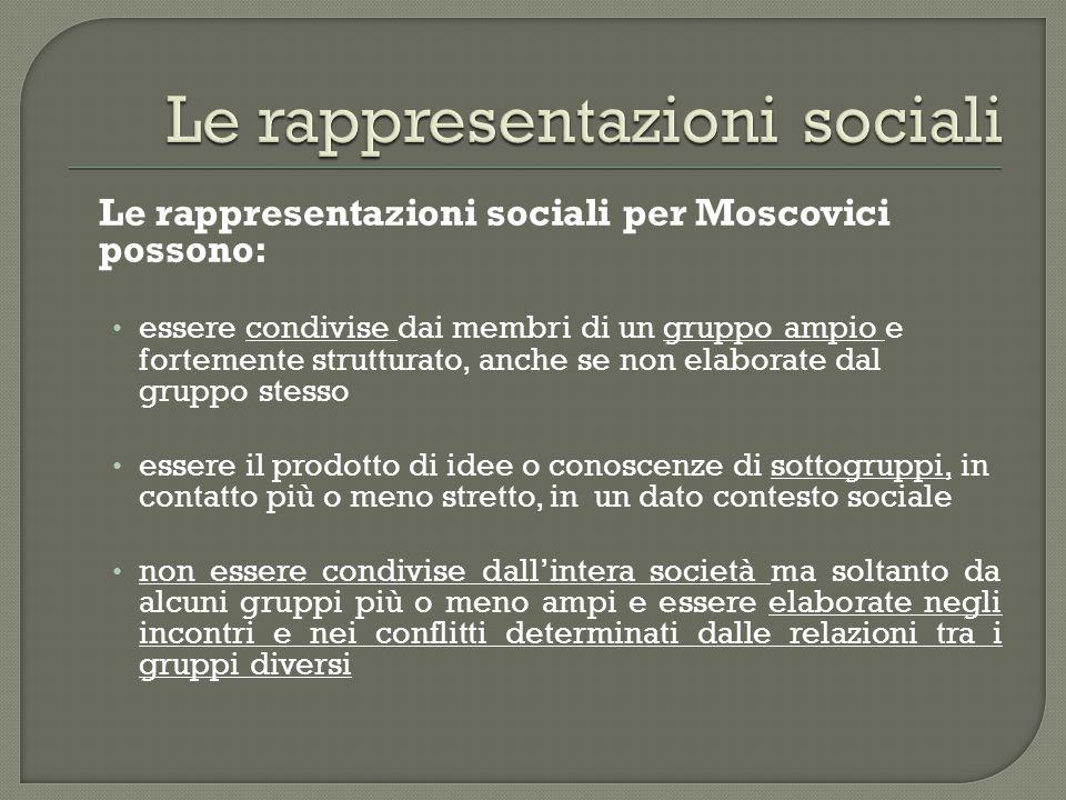 Le rappresentazioni sociali per Moscovici possono: essere condivise dai membri di un gruppo ampio e fortemente strutturato, anche se non elaborate dal