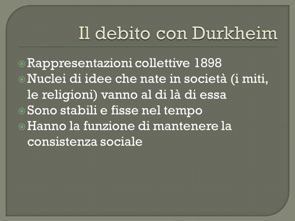  Rappresentazioni collettive 1898  Nuclei di idee che nate in società (i miti, le religioni) vanno al di là di essa  Sono stabili e fisse nel tempo