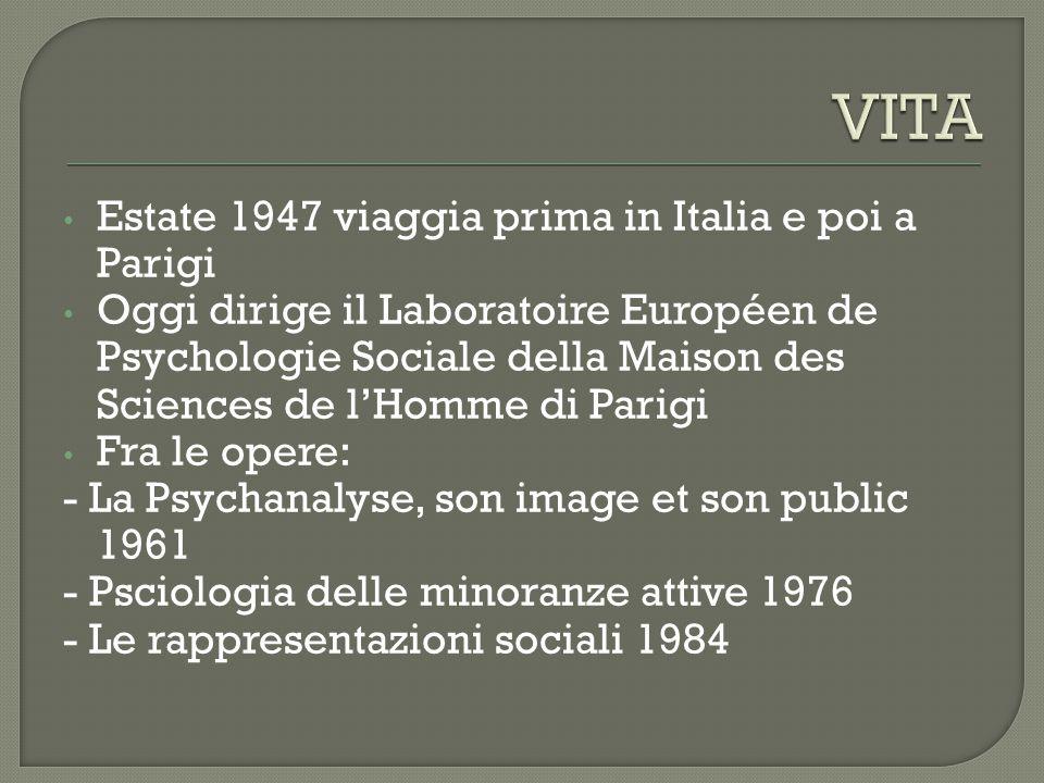 Estate 1947 viaggia prima in Italia e poi a Parigi Oggi dirige il Laboratoire Européen de Psychologie Sociale della Maison des Sciences de l'Homme di