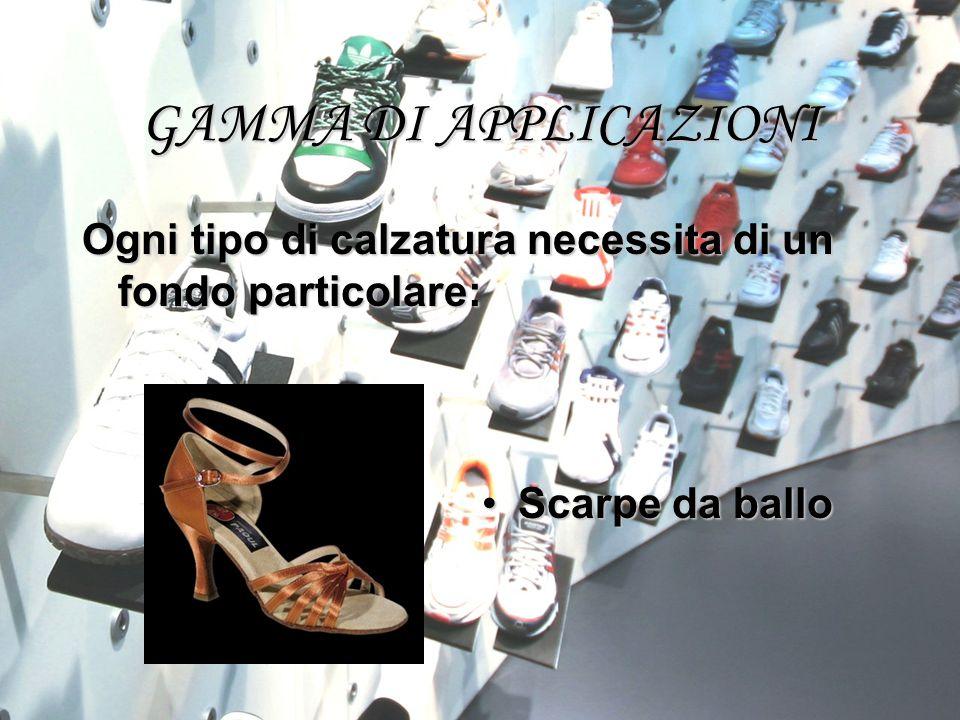 GAMMA DI APPLICAZIONI Ogni tipo di calzatura necessita di un fondo particolare: Scarpe da balloScarpe da ballo