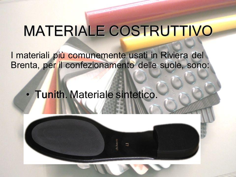 MATERIALE COSTRUTTIVO I materiali più comunemente usati in Riviera del Brenta, per il confezionamento delle suole, sono: TunithTunith. Materiale sinte