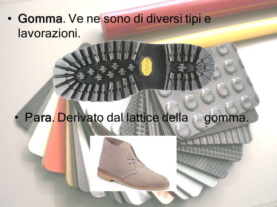 GommaGomma. Ve ne sono di diversi tipi e lavorazioni. ParaPara. Derivato dal lattice della gomma.