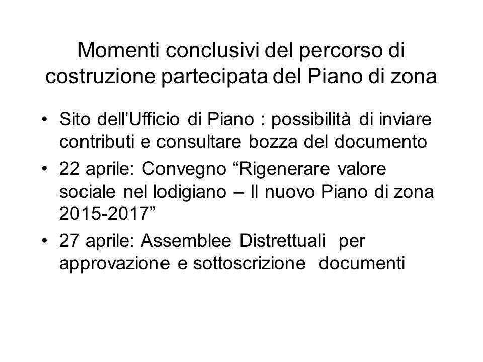 Momenti conclusivi del percorso di costruzione partecipata del Piano di zona Sito dell'Ufficio di Piano : possibilità di inviare contributi e consulta