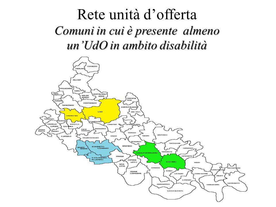 Comuni in cui è presente almeno un'UdO in ambito disabilità Rete unità d'offerta Comuni in cui è presente almeno un'UdO in ambito disabilità
