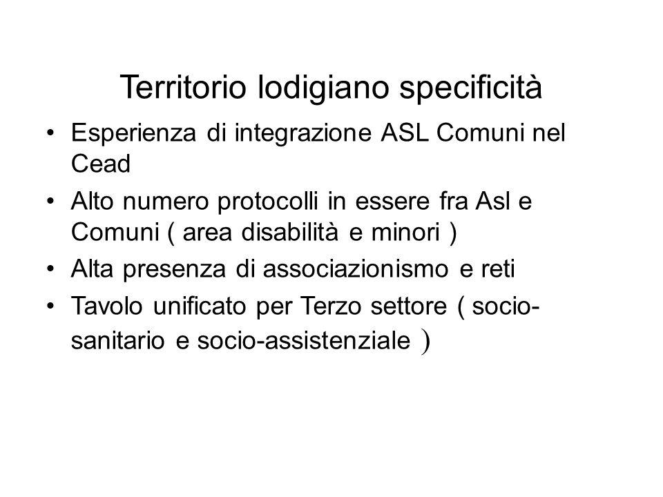 Territorio lodigiano specificità Esperienza di integrazione ASL Comuni nel Cead Alto numero protocolli in essere fra Asl e Comuni ( area disabilità e