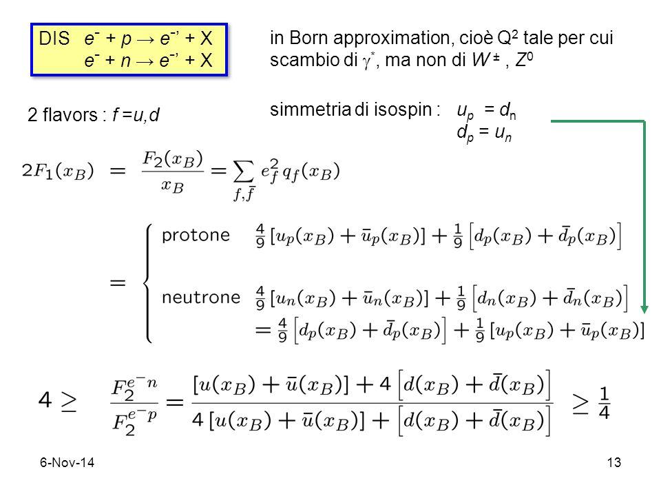 6-Nov-1413 DIS e - + p → e - ' + X e - + n → e - ' + X DIS e - + p → e - ' + X e - + n → e - ' + X in Born approximation, cioè Q 2 tale per cui scambio di  *, ma non di W ±, Z 0 2 flavors : f =u,d simmetria di isospin : u p = d n d p = u n