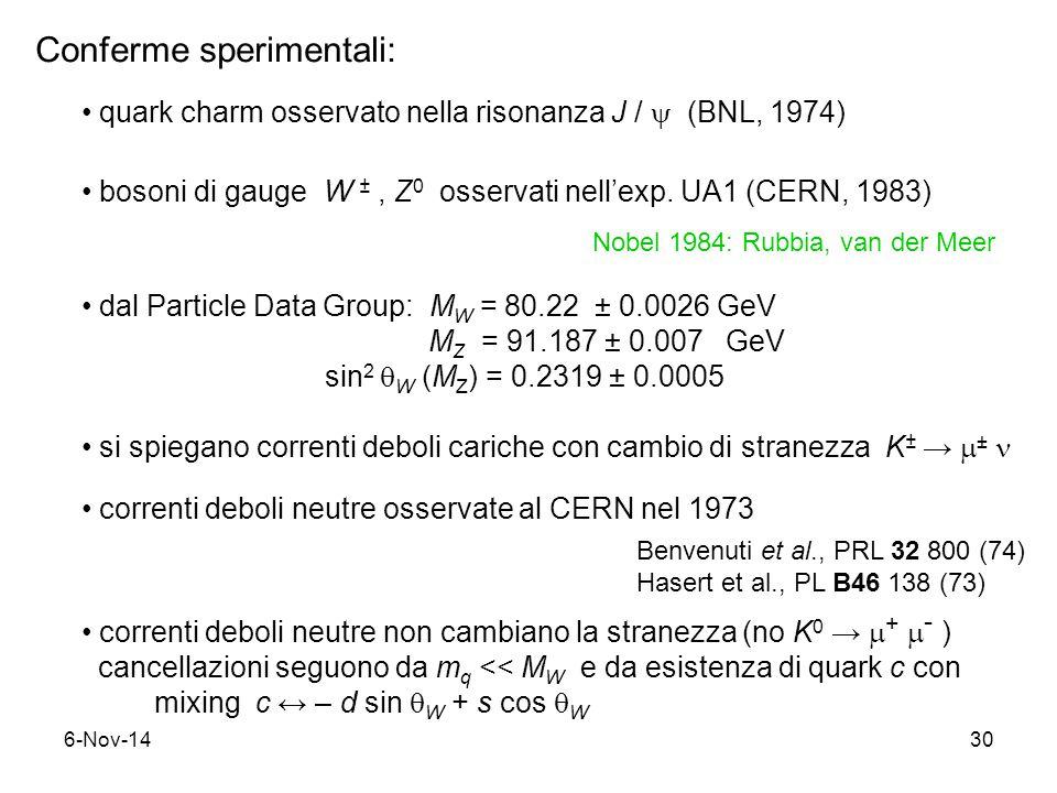 6-Nov-1430 Conferme sperimentali: quark charm osservato nella risonanza J /  (BNL, 1974) bosoni di gauge W ±, Z 0 osservati nell'exp.