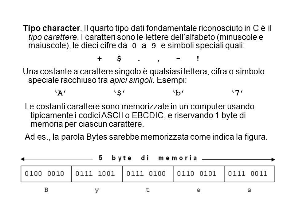 Tipo character. Il quarto tipo dati fondamentale riconosciuto in C è il tipo carattere.