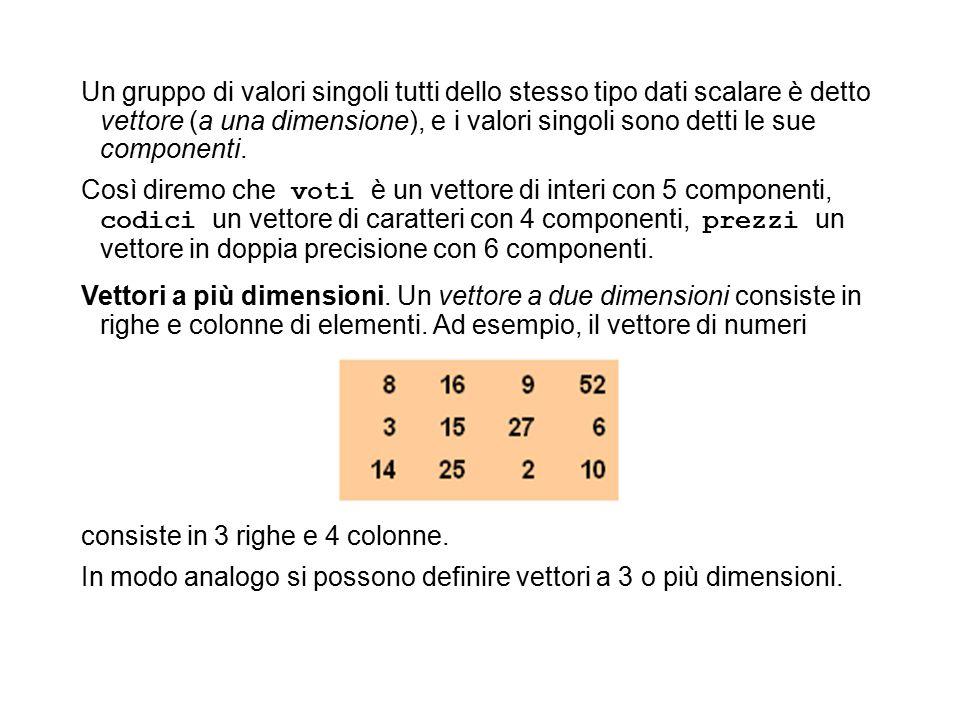 Un gruppo di valori singoli tutti dello stesso tipo dati scalare è detto vettore (a una dimensione), e i valori singoli sono detti le sue componenti.