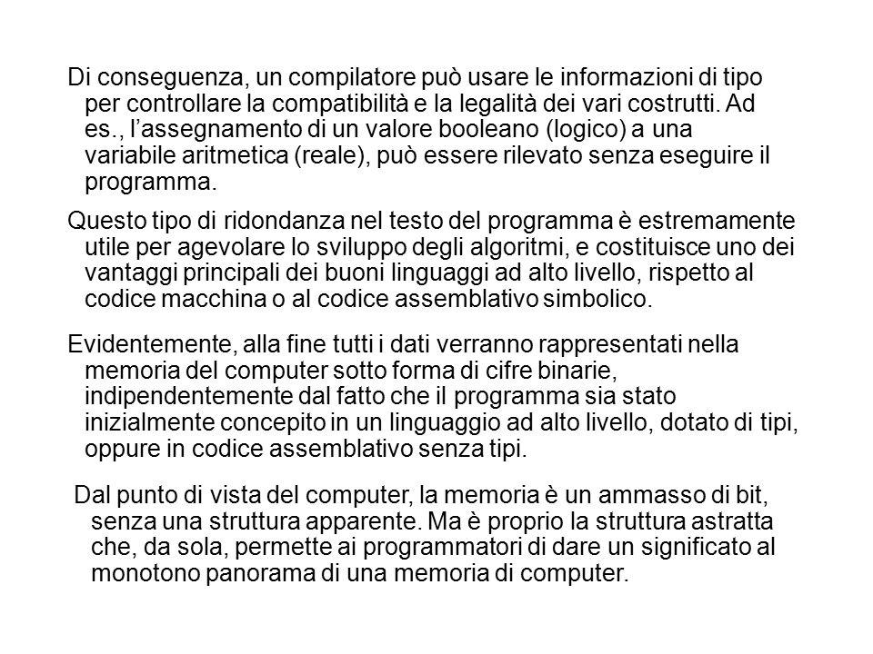 Di conseguenza, un compilatore può usare le informazioni di tipo per controllare la compatibilità e la legalità dei vari costrutti.