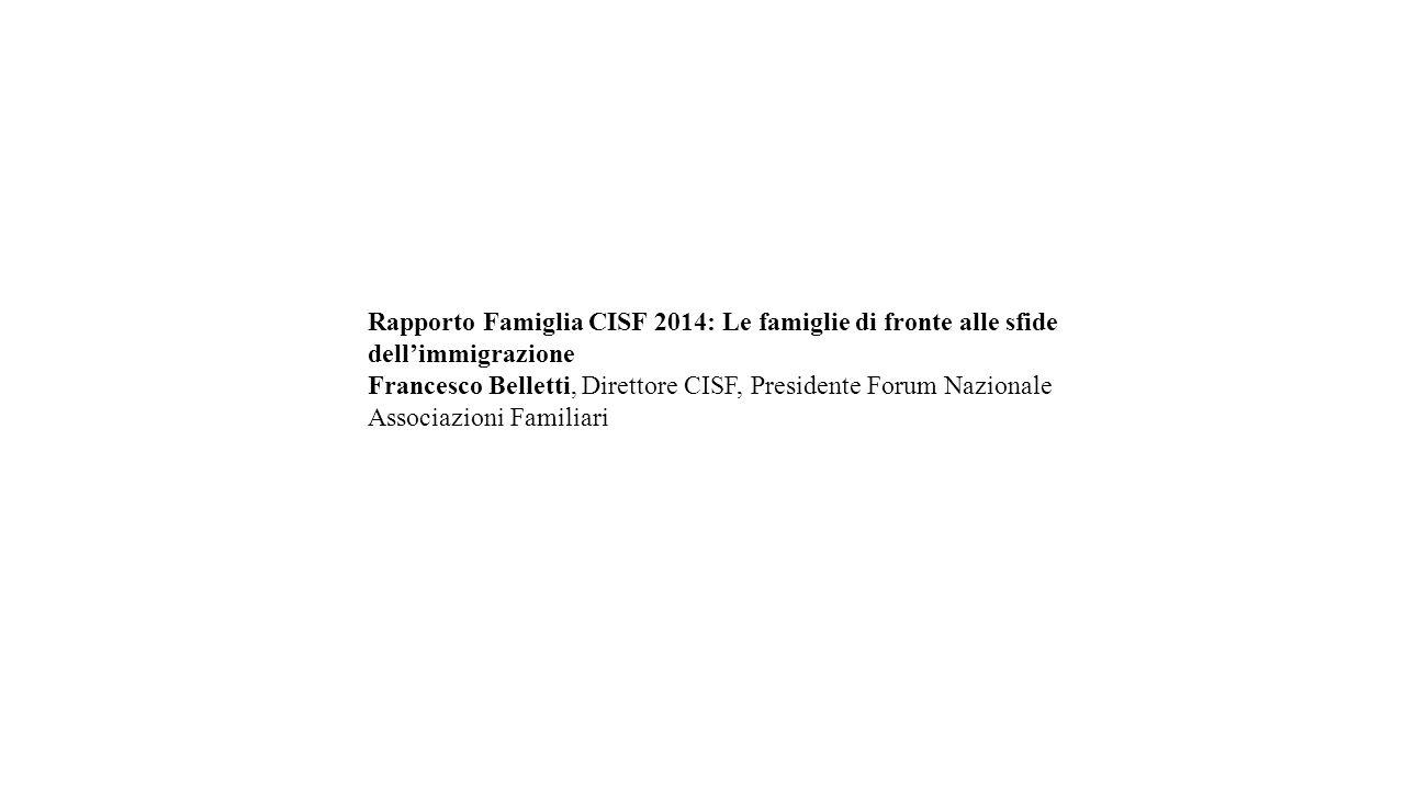 Rapporto Famiglia CISF 2014: Le famiglie di fronte alle sfide dell'immigrazione Francesco Belletti, Direttore CISF, Presidente Forum Nazionale Associa