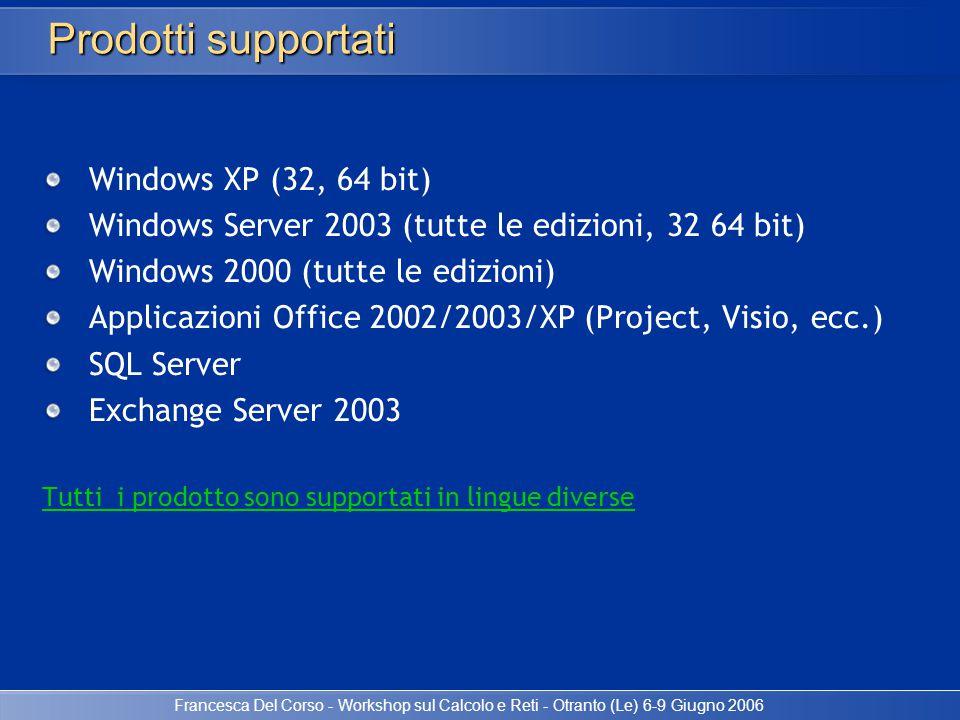 Francesca Del Corso - Workshop sul Calcolo e Reti - Otranto (Le) 6-9 Giugno 2006 Windows XP (32, 64 bit) Windows Server 2003 (tutte le edizioni, 32 64