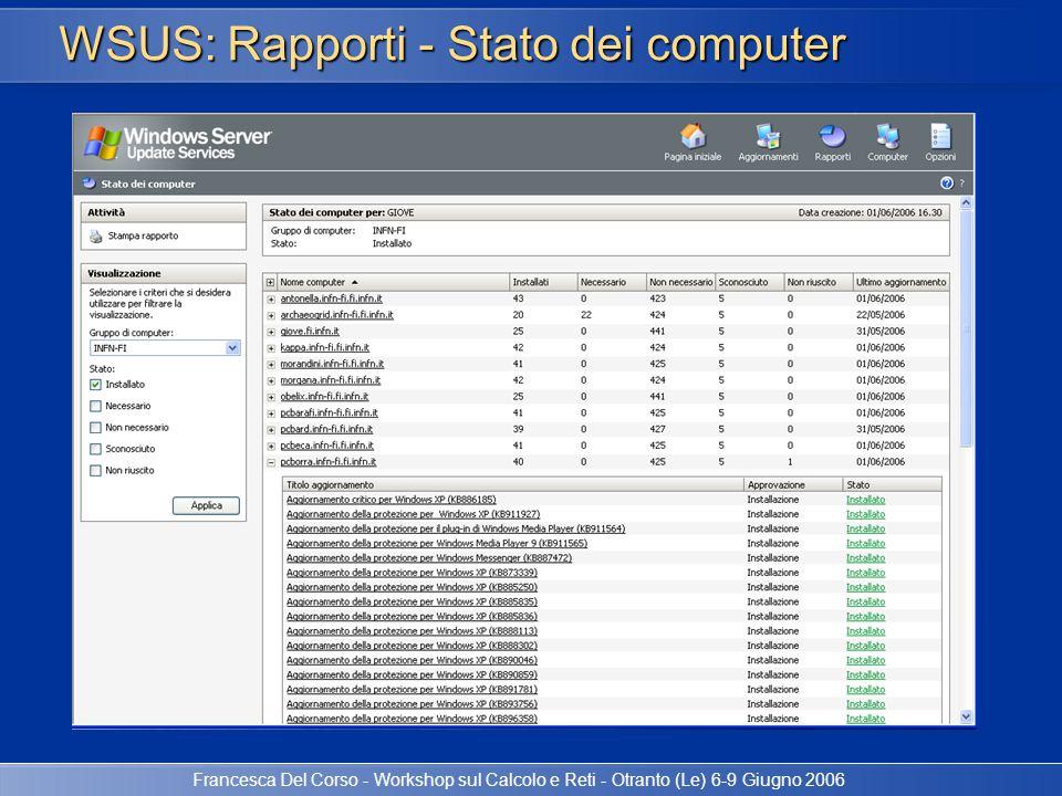 Francesca Del Corso - Workshop sul Calcolo e Reti - Otranto (Le) 6-9 Giugno 2006 WSUS: Rapporti - Stato dei computer