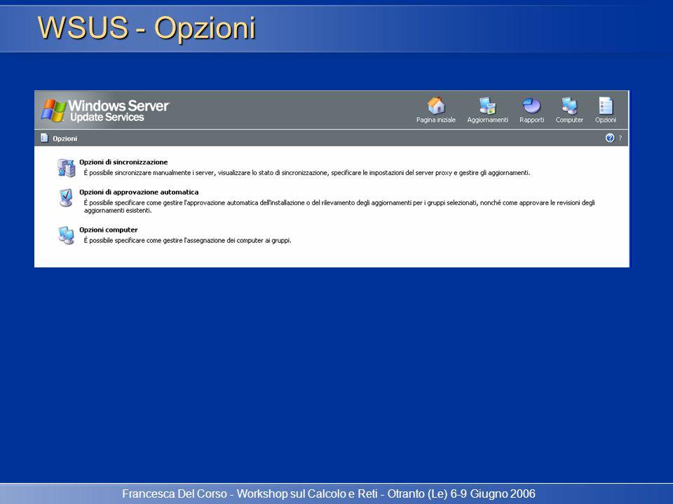 Francesca Del Corso - Workshop sul Calcolo e Reti - Otranto (Le) 6-9 Giugno 2006 WSUS - Opzioni