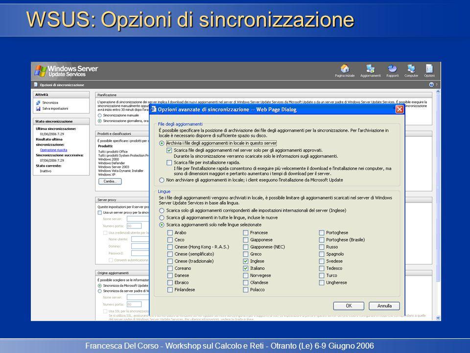 Francesca Del Corso - Workshop sul Calcolo e Reti - Otranto (Le) 6-9 Giugno 2006 WSUS: Opzioni di sincronizzazione