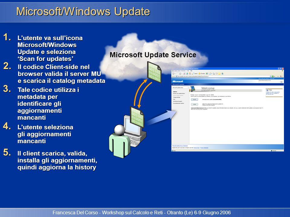 Francesca Del Corso - Workshop sul Calcolo e Reti - Otranto (Le) 6-9 Giugno 2006 WSUS Documentazione Microsoft Windows Server Update Services Overview: http://go.microsoft.com/fwlink/?LinkID=42213 http://go.microsoft.com/fwlink/?LinkID=42213 Step-by-Step Guide to Getting Started with Microsoft Windows Server Update Services: http://go.microsoft.com/fwlink/?LinkID=41774 http://go.microsoft.com/fwlink/?LinkID=41774 Deploying Microsoft Windows Server Update Services: http://go.microsoft.com/fwlink/?linkid=41777 http://go.microsoft.com/fwlink/?linkid=41777 Windows Update Agent Software Developer s Kit: http://go.microsoft.com/fwlink/?LinkID=43101 http://go.microsoft.com/fwlink/?LinkID=43101 WSUS Communities http://www.microsoft.com/wsus http://www.wsuswiki.com