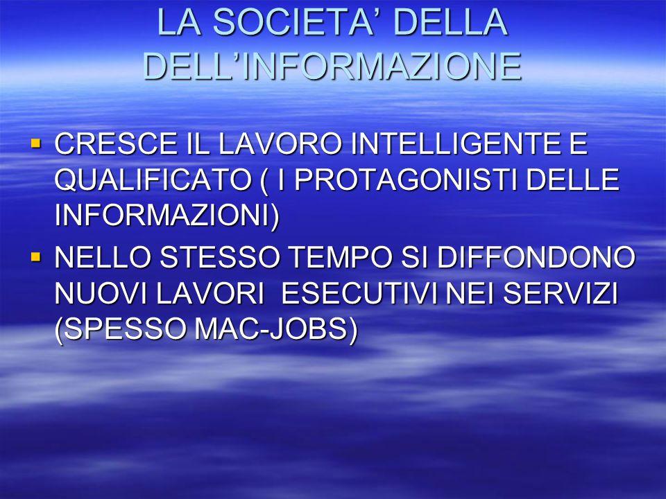 LA SOCIETA' DELLA DELL'INFORMAZIONE LA SOCIETA' DELLA DELL'INFORMAZIONE  CRESCE IL LAVORO INTELLIGENTE E QUALIFICATO ( I PROTAGONISTI DELLE INFORMAZIONI)  NELLO STESSO TEMPO SI DIFFONDONO NUOVI LAVORI ESECUTIVI NEI SERVIZI (SPESSO MAC-JOBS)