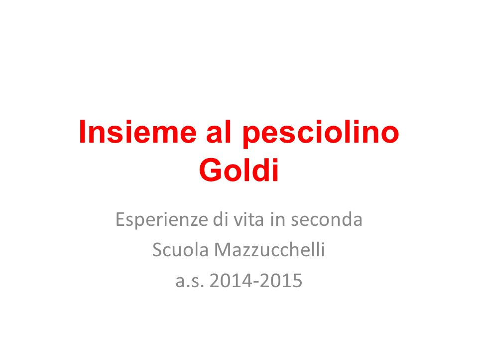 Insieme al pesciolino Goldi Esperienze di vita in seconda Scuola Mazzucchelli a.s. 2014-2015