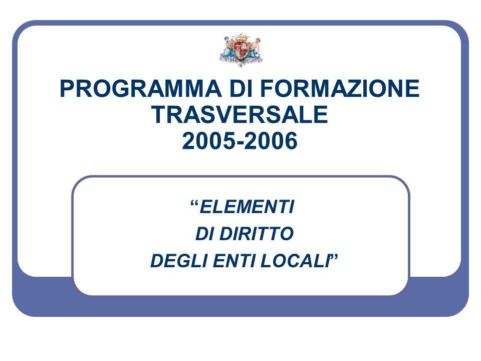 PROGRAMMA DI FORMAZIONE TRASVERSALE 2005-2006 ELEMENTI DI DIRITTO DEGLI ENTI LOCALI