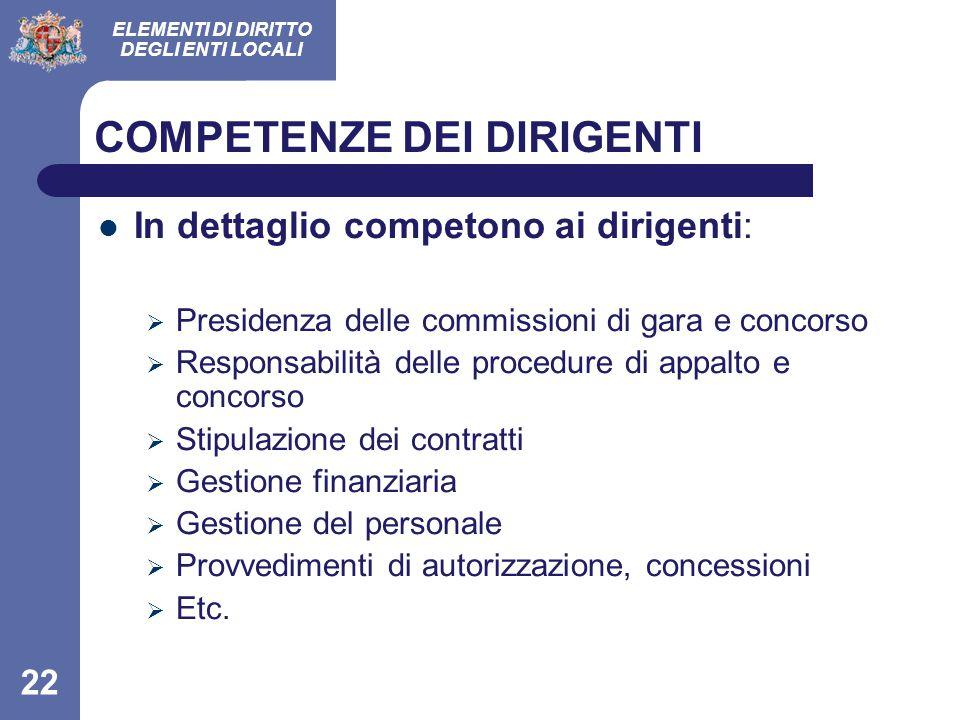 ELEMENTI DI DIRITTO DEGLI ENTI LOCALI 22 COMPETENZE DEI DIRIGENTI In dettaglio competono ai dirigenti:  Presidenza delle commissioni di gara e concor