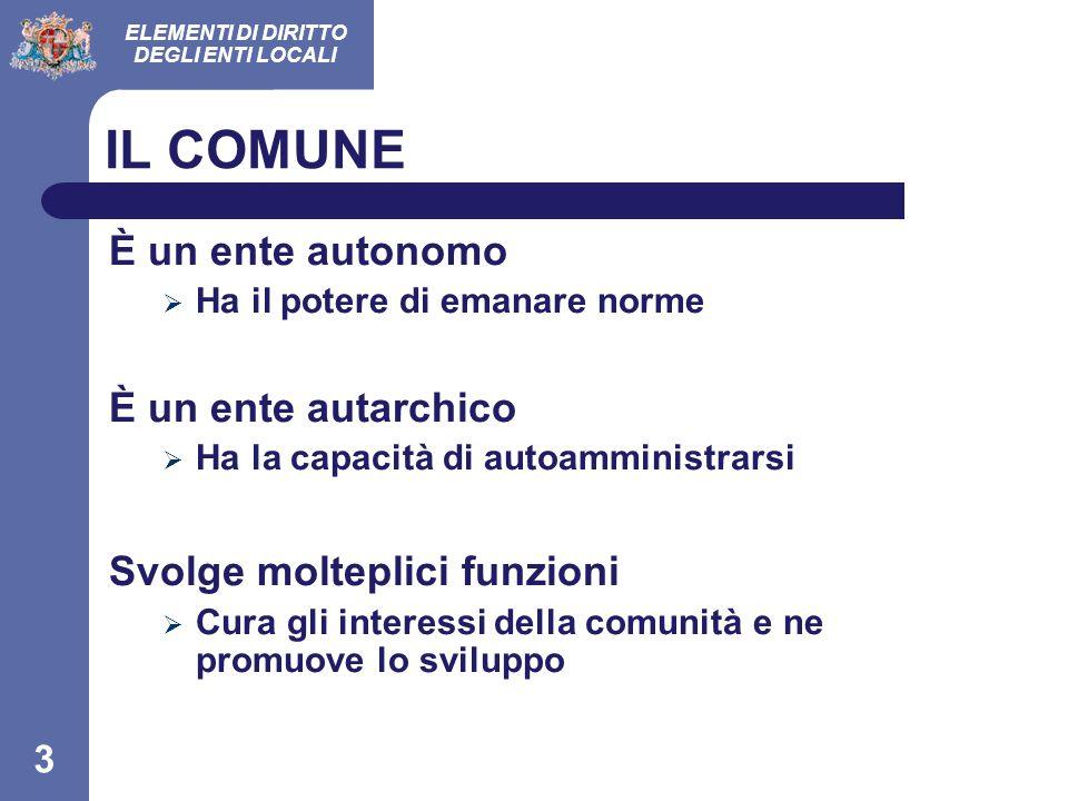 ELEMENTI DI DIRITTO DEGLI ENTI LOCALI 24 formazione@comune.cagliari.it Tel.