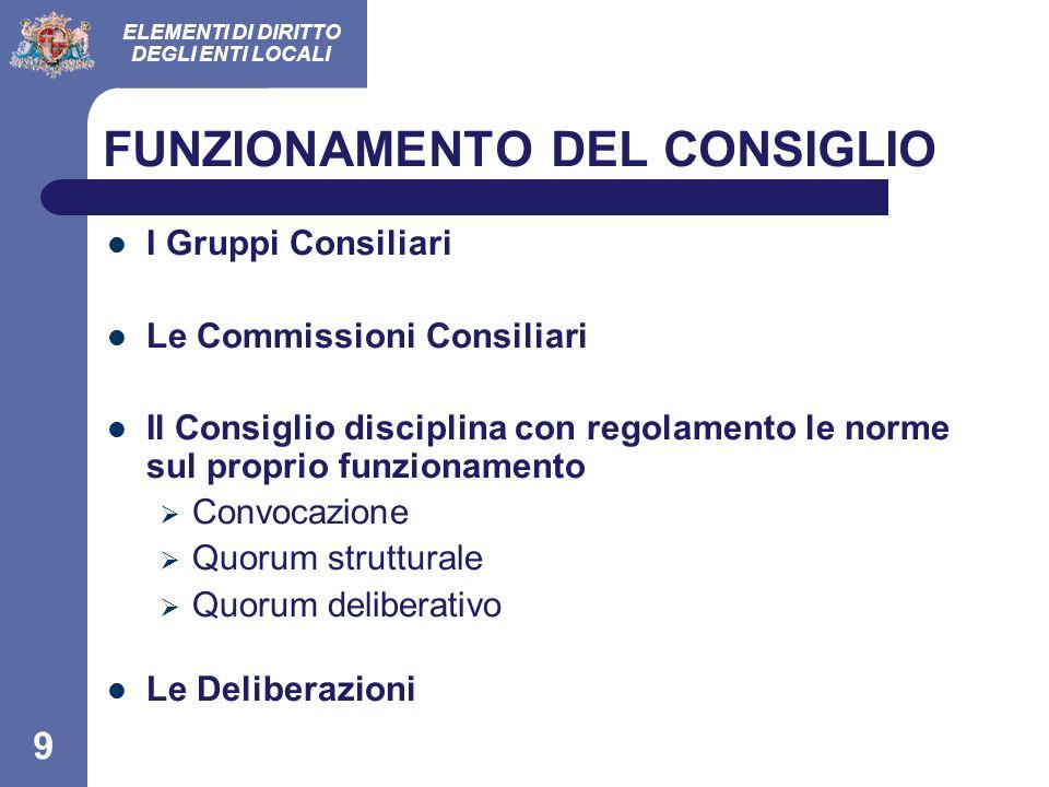 ELEMENTI DI DIRITTO DEGLI ENTI LOCALI 9 FUNZIONAMENTO DEL CONSIGLIO I Gruppi Consiliari Le Commissioni Consiliari Il Consiglio disciplina con regolame