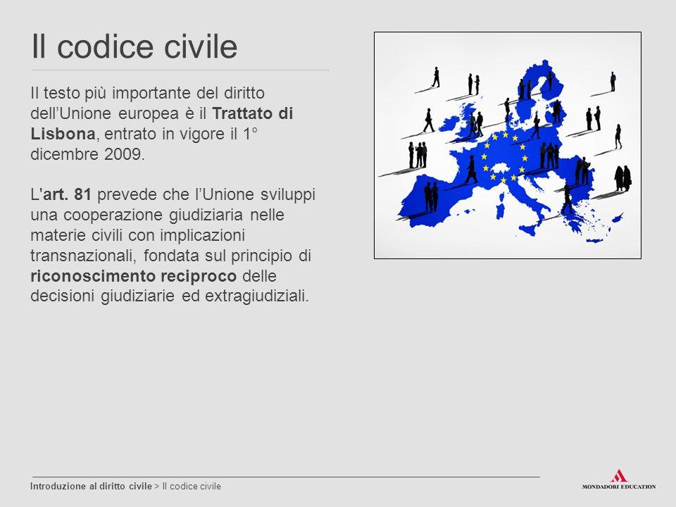 Il codice civile Il testo più importante del diritto dell'Unione europea è il Trattato di Lisbona, entrato in vigore il 1° dicembre 2009. L'art. 81 pr
