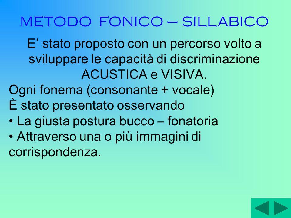 METODOLOGIA E' stato utilizzato il metodo FONICO-SILLABICO: dai fonemi alle parole.