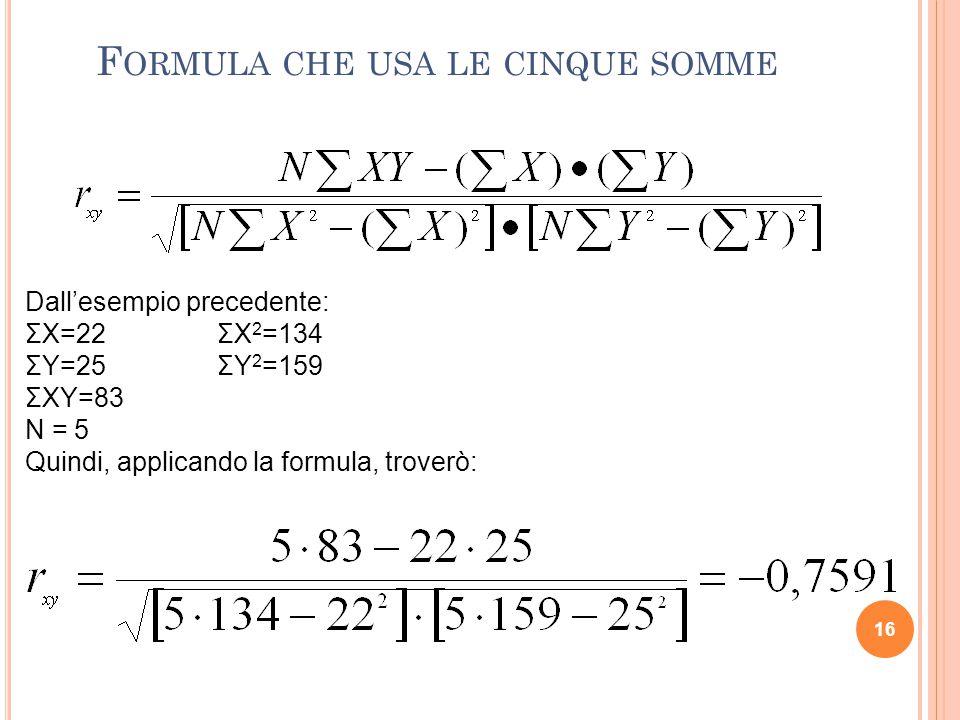 Dall'esempio precedente: ΣX=22ΣX 2 =134 ΣY=25ΣY 2 =159 ΣXY=83 N = 5 Quindi, applicando la formula, troverò: F ORMULA CHE USA LE CINQUE SOMME 16