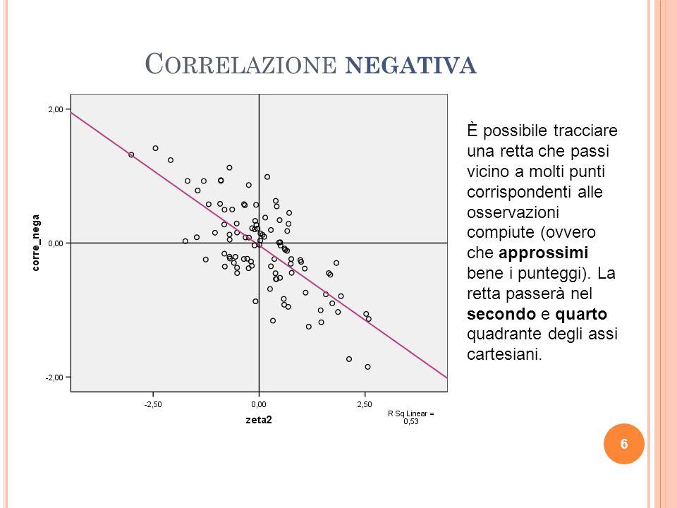 C ORRELAZIONE NEGATIVA 6 È possibile tracciare una retta che passi vicino a molti punti corrispondenti alle osservazioni compiute (ovvero che approssi